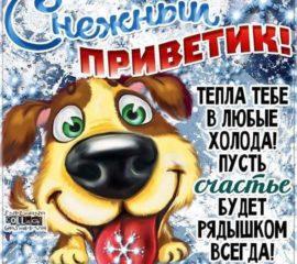 Снежный зимний привет открытка