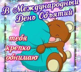 Обнимаю тебя. Медведь обнимает подушку